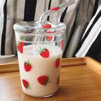 Wine Glasses Cute Strawberry Flower Print Glass Milk Bottle With Lid And Straw Clear Coffee Water Juice Drinking Cup Smoothie Mug