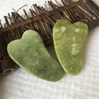 Dark Green Jade Guasha Board Facial Eyes Scraping massage Stone Health Care Acupoints Plate Massager scrape