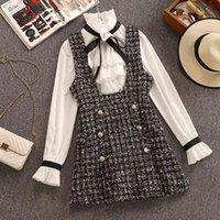 2020 가을 겨울 2 조각 세트 바지 드레스 여성 우아한 러프 쉬폰 활 셔츠 탑 + 더블 브레스트 격자 무늬 트위드 조끼 드레스 T200825