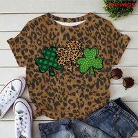 Women's Hoodies & Sweatshirts Summer with green leopard leaf funny t-shirt for women t- plus size graphic cartoon tree t- WK1U