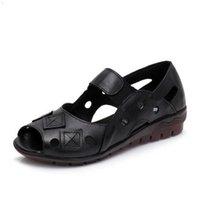 BEYARNE Spring Summer Wedges Sandal Hollow Casual Shoes Genuine Leather Woman Peep Toe Big SizeE334 210619 9VFF