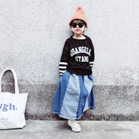 Autumn Girls letter printed T-shirt kids stripe long sleeve fake two piece casual tops mommy and me matching outfits Q2207