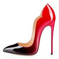أزياء مثير المرأة ماركة عالية الكعب الأحمر أسفل منصة منصة مضخات الأسود براءات الاختراع جلد مدبب تو عالية الكعب الفاخرة الأحمر أسفل النساء اللباس حذاء