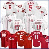 Cincinnati Personnalisé Reds 14 Pete Rose Baseball Jersey 11 Barry Larkin 5 Johnny Banque 27 Matt Kemp 30 Ken Griffey JR 19 Joey Votto Nick Senzel
