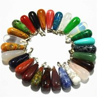 Wholesale Fashion Mix Color Natural Stone Pendants Water-Drop Charms Necklaces For Jewelry Making 50pcs Lot 211014