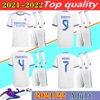 21 22 레알 마드리드 축구 유니폼 홈 키트 2021 2022 Laba Hazard Sergio Ramos 벤즈마 Asensio Modric Marcelo Men Camiseta 축구 셔츠 유니폼
