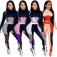 Vente chaude Womens Yoga Tracksuits à manches longues Sweats à capuche Tenue de chemise Pantalon 2 pièces Ensemble Skinny Collants Sport Support Pull