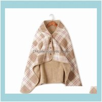 Blankets Textiles Home & Gardenwearable Plaid Fleece Polyester Blanket With Button Winte Warm Throws On Sofa Bed Travel Thicken Bedroom Plai
