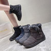 Boots Winter Snow Women Ankle Cotton Fabric Femmes Bottes Flat Heels Short Plush Shoes Ladies Booties Waterproof