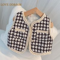 Jackets LOVE DD&MM Girls Vest Children Clothing Princess Plaid Pocket Baby Outerwear Coat Kids Clothes Costumes 3-8 Years