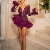 Burgundy Short Cocktail Dresses Layered Ruffles Beaded Long Sleeves Plunging Neckline Chic Luxury Dubai Plus Size Women Party Gowns