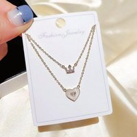 High-end Double Layers Cubic Zircon Crown Natural Shell Heart Pendant Necklace Chain For Women Chains