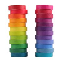 24 stücke Regenbogen Farbe Washi Tape Set 9mm 15mm Macaron Farben Klebstoff Masking Bänder Aufkleber Dekoration DIY Marker Label A6735 2016