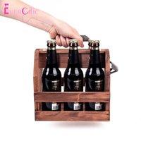 Botellas de almacenamiento Frascos de la botella de leche de madera Rack de 6 piezas Soporte de cerveza de cerveza incorporada de metal incendio Canasta retro de madera maciza Vino tinto