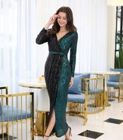Sexy Sequined Evening Dresses Sash Sheath Split Ankle Length Long Sleeves Formal Prom Party Gowns