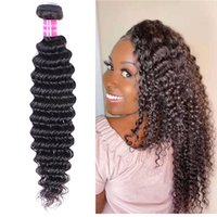Human Hair Extensions Indian Peruvian Brazilian Hair Natural 1b Color Deep Wave Bundles Virgin Remy Hair 4pcs