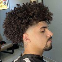 15mm Afro Curl 1B Full Pu Toupee Mens Peruca Indiana Virgem Virgem Substituição de Cabelo Humano para Black Men Express Entrega
