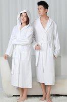 Women's Sleepwear 100% Cotton Hooded Robes For Women Autumn Dressing Gown Men Plus Size Kimono Bathrobe Long Solid Bath Robe El