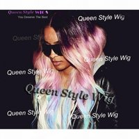 Pastel Purple Pink to Ice Blue Rainbow Color Wig Synthetic Celebrity Ciara Loose Wave Hair None Lace Wig Lace Front Wigs for Black Lady