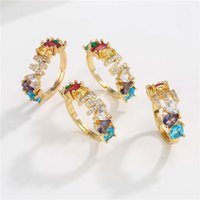 Adjustable A-Z Initial Ring Bohemian Copper Zircon Rainbow Letter Rings for Women Girls Party Wedding Jewelry Gift