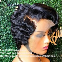 Lace Wigs Pixie Cut Wig Human Hair Short Loose Wave Front 13x4 Pre Plucked Bleached Knots 150%