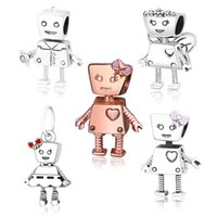 925 Sterling Silver Familia Chico Robot Bella Bot Rosa Arco Flor Mariposa Ala Beads Ajuste Original Marca Charm Pulsera DIY BERLOQUE