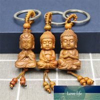 Cute Mahogany Wooden Keychain 3D Engraving Lifelike Buddha Pendant Key Ring Person Shape Key Holder Jewelry Making Accessories Factory price expert design Quality