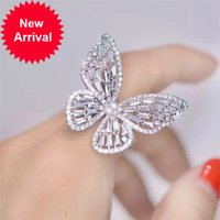 Big Zircon Butterfly Open Ring Luxury Cubic Zirconia Fancy Finger Rings for Women Party Dinner Dress Jewelry CRL038