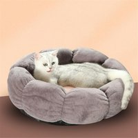 Cat Round Soft Winter Sleeping Nest Pet Petal Bed House Plush Cushion Kennel Puppy Doggy Non-slip Basket Mat Pad Beds & Furniture
