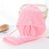 Tapas de ducha para la magia Quick seco Pelo Microfibra Toalla Secado Turbante Wrap Hat Cap Spa Baño BWE6234