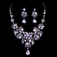 Earrings & Necklace Parure Bijoux Femme Mariage Prom Formal Party Wedding Bridal Jewelry Crystal Rhinestone Earring Set