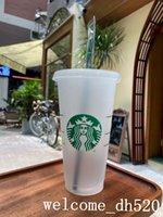 Starbucks Mermaid Goddess 24oz 710ml Plastic Mugs Tumbler Reusable Clear Black Drinking Flat Bottom Pillar Shape Lid Straw Cups Bardian