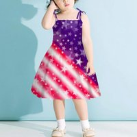 Girl's Dresses Summer Toddler Baby Girls Dress Us Flag Independence Day July Fourth Princess Spaghetti Strap Party Vestidos 1-6y