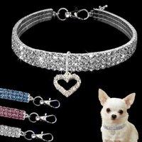 Coração em forma de bling de cristal Cão de cristal diamante cachorro animal de estimação brilho cheio de strass colar colar colarinho para animais de estimação pequeno cães gato suprimentos s / m / l