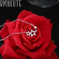 Boho 925 Sterling Silver Crystal Star Necklaces For Women Girls Fashion Jewelry Statement Charm Pendant Collares Chokers