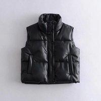 블랙 PU 가죽 조끼 여자 자켓 코트 가을 겨울 outwear 복어 여성 민소매