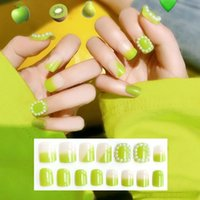 False Nails 24Pcs Set INS-style Fluorescent Avocado Green Fake Short Matte Flower Pattern Elegant Fale Naisl DIY Manicure Tools