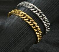 Braceletes de aço inoxidável banhado a ouro Corrida Chain Chair Mens Jóias Moda, 21,5 cm de comprimento, 11mm de largura