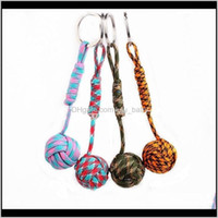 Keychains Fashion Accessories Drop Delivery 2021 Monkey Fist Knot Key Chains Buckle Self-Defense Core Keychain Steel Survival Paracord