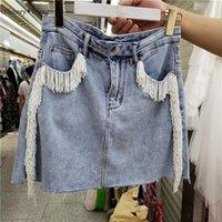 Röcke Whitney Wang 2021 Sommer Mode Streetwear Perlen Tassel Denim Rock Frauen Stilvolle Jean Mini Plus Größe 5XL