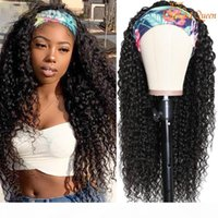Water Wave Headband Wig Maxine Wet and Wavy Scarf Wig for Women 150% Water Wave Human Hair Wig