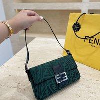 Fend Damen Taschen Luxus Designer Vintage Neue Grüne Green Canvas Personal Tasche FF Brief Achseltasche Einzelner Schulter Messenger lesbisch Rindsleder ZMM