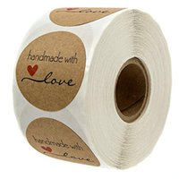 Gift Wrap 500PCS Round Labels Handmade Kraft Paper Packaging Sticker For Candy Dragee Bag Box Packing Wedding Thanks Stickers