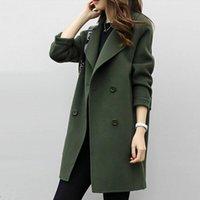 Women's Wool & Blends Women Autumn Winter Solid Color Lapel Double-Breasted Mini Coat Female Woolen Outwear Button-Down Jacket Lady Chic Plu