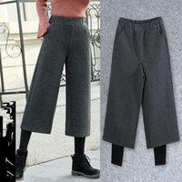 Kalın Sonbahar Kış Rahat Düz Pantolon Kadın Kadın Sahte 2 adet Gevşek Yüksek Bel Yün Geniş Bacak Artı Boyutu Pantolon Kadın Capris
