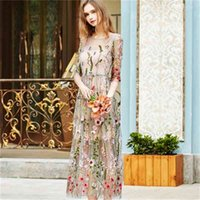 Spring dress seaside holiday beach skirt mid length Chinese style embroidered mesh dressCAEY
