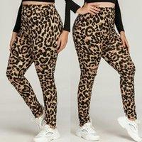 Women's Leggings #R40 Leopard Print Women Plus Size Elastic Waist Fitness Casual Pants For Woman Leggins