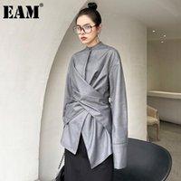 [Eam] Femmes Grey Grey Irrégular Connaissez Big Taille Blouse Stand Collier À Manches Lunettes De Chemise en vrac Fashion Spring Automne 2021 1DD58110 Blouses pour femmes