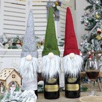 Juldekoration ansiktslös gammal man docka flaska täcke xmas champagne dekor vin väskor presentpåse wq22