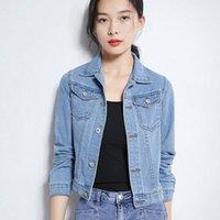 Yocalor 2019 Automne Fashion Blue Jeans Jacket Femme Main Main Brosse À Manches Longues Stretch Femmes Femmes Denim Veste Blanc Couches roses O0G7 #